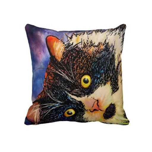Throw pillow with tuxedo cat