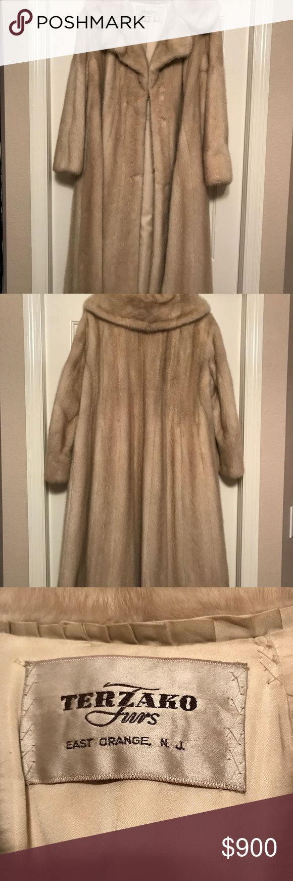 Mink Coat White creme/ beige full  (long) length Mink Coat by Terzako Furs East Orange, N.J..   notched collar cuff slelves slanted outside pockets  and one inside latch hook collar for severe cold. Price includes shipping and insurance. Terzako Jackets & Coats