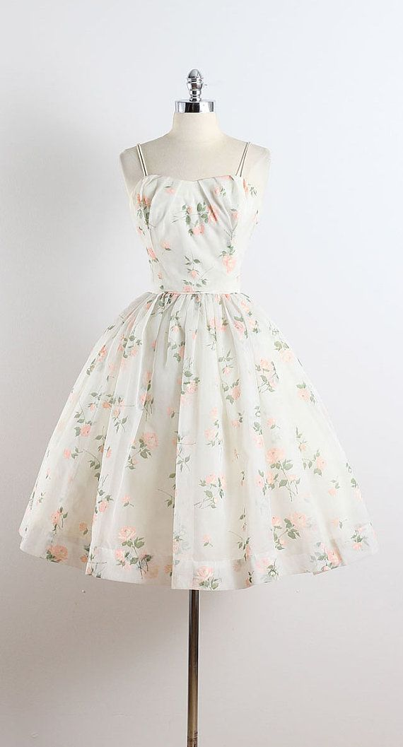 STREWN ROSES ➳ vintage 1950s dress * white chiffon * acetate lining * pink flocked rose print * bodice stays * metal back zipper condition | excellent