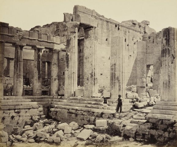 Francis Bedford (1815-94)   The Propylea - from the Temple of Victory [Entrance to the Acropolis, Athens, Greece]  30 May 1862. Francis Bedford (1815-94. Acquired by the Prince of Wales, 1862 )