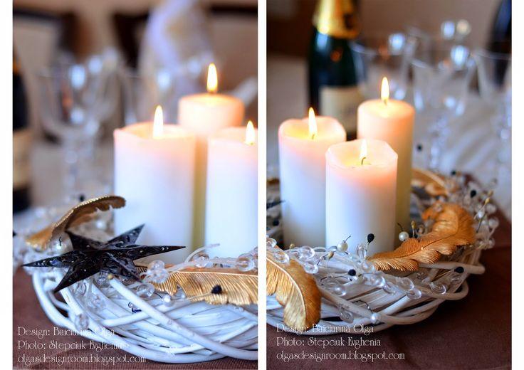 Baiciurina Olga's Design Room: Glamour christmas wreath-Изысканный новогодний венок на стол со свечами.