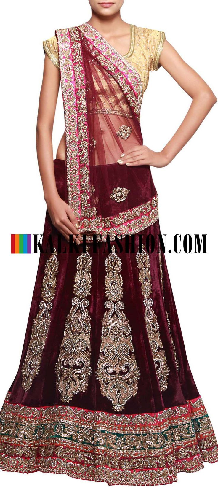 Get this beautiful lehenga here: http://www.kalkifashion.com/burgundy-unstitched-velvet-lehenga-featuring-in-kundan-and-stone-embroidery-only-on-kalki.html Free shipping worldwide.