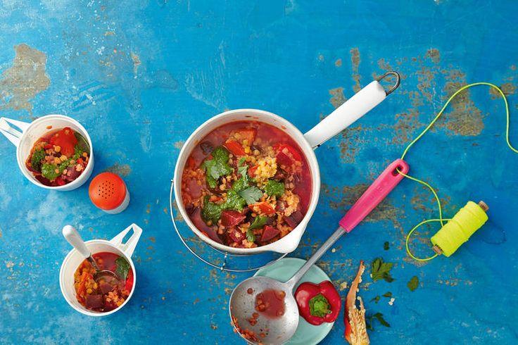 Das Rezept für Roter Gemüsetopf mit Pesto-Dip mit allen nötigen Zutaten und der einfachsten Zubereitung - gesund kochen mit FIT FOR FUN
