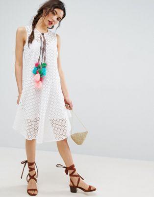 ASOS Sleeveless Broderie Dress with Dipped Hem and Pom Pom Trim