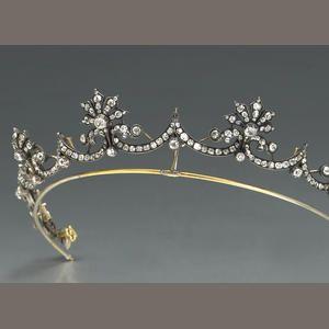 An antique diamond and silver topped gold tiara, circa 1880