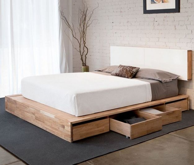 contemporary box bed in compressed wooden blocks + lacquer finish headboard