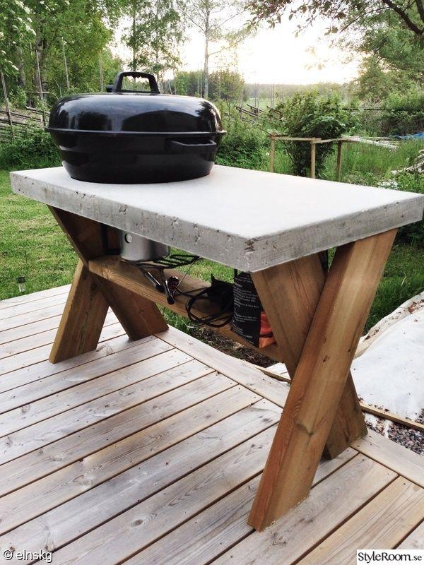 Grillbord i betong.