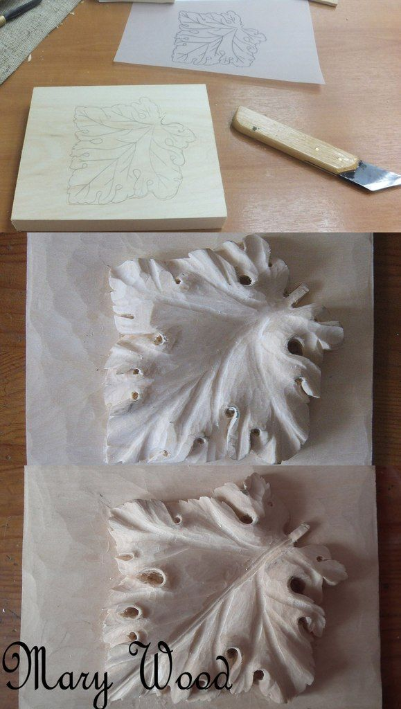 """Grape Leaf"" The process starts will a small, plain block of wood. Little by little I carve and chip away the excess until only the leaf is left! [1of2]"