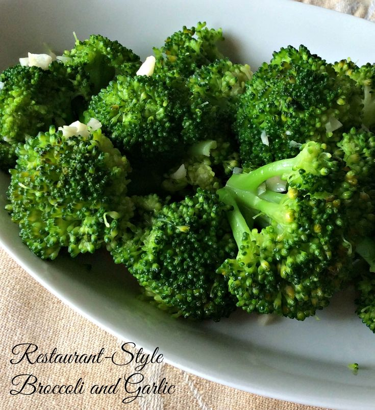 Restaurant-Style Broccoli and Garlic. The broccoli is cooked to perfection and is scented with garlic. Great side dish with many proteins.