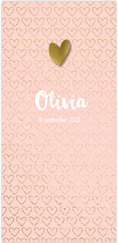 Chic langwerpig geboortekaartje voor een meisje! Met stijlvol roze en goud glans hartjes patroon. Geheel zelf aan te passen. Gratis verzending in Nederland en België. Enveloppen zijn los bij te bestellen.