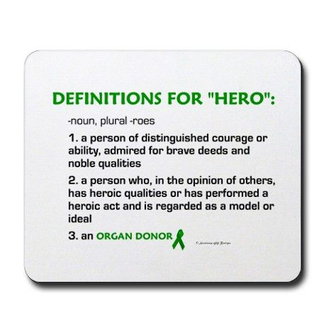 HERO Definitions (Organ Donor) Mousepad on CafePress.com
