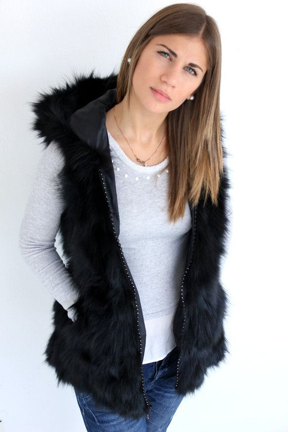 Women Vest sleeveless jacket Made With Genuine Real Fox Fur
