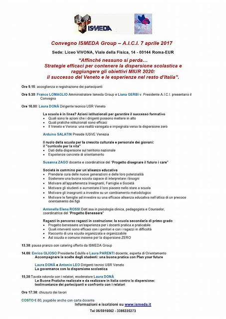 FORMAZIONE INSEGNANTI      Counseling Scolastico A.I.C.I schoolcounseling: Convegno ISMEDA GroupUN ENTE DEDICATO A CHI LAVOR...