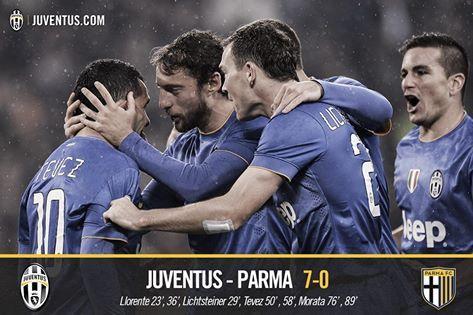 Juventus Parma 7-0 (Llorente, Lichtsteiner, Llorente, Tevez, Tevez, Morata, Morata)