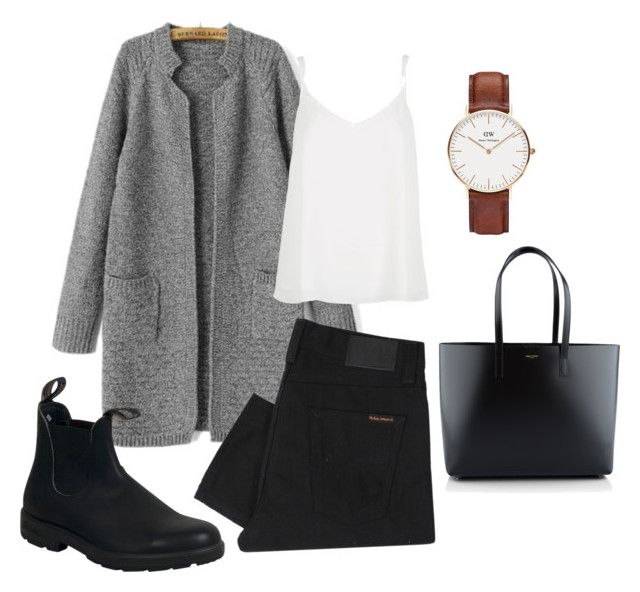 """Minimal chic"" by mackennamoriah on Polyvore featuring Nudie Jeans Co., Daniel Wellington, Blundstone, River Island, Yves Saint Laurent, women's clothing, women, female, woman and misses"