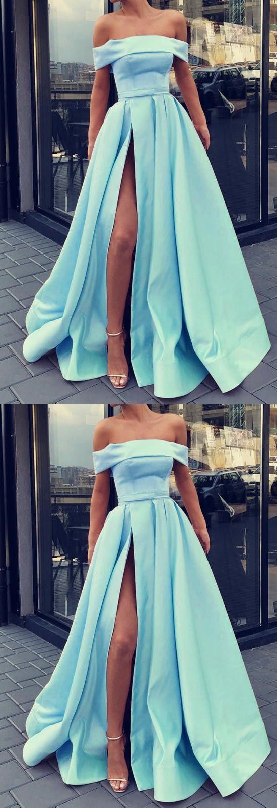 Light blue prom dresses off shoulder evening gown