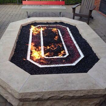 OSU Firepit with red fireglass