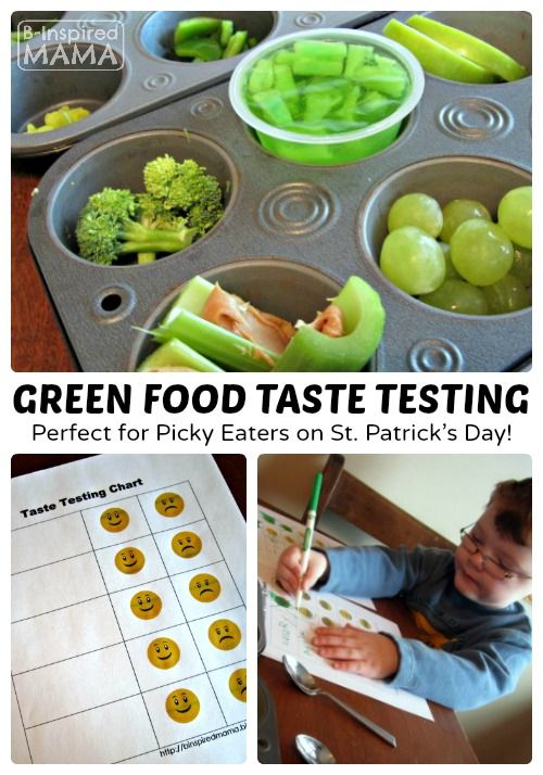 Green Food Taste Testing for Picky Eaters on St. Patrick's Day at B-Inspired Mama