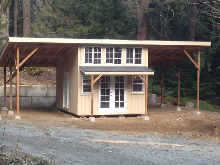 Slant Roof Style With Roof Extensions And Two 60u0027 French Doors. Storage, Garden  Shed, Tool Shed, Playhouse, Craft Room, Mother In Law Home, Cabin, ...