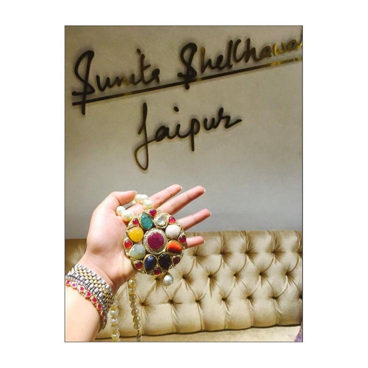 """""""Adorn Sunita Shekhawat's beautiful Navratan Pendant!! Sunitashekhawat#craftedforeternity#jewels#traditional#kundan#modernmeenakar#jaipur#pendant#navratan"""""""