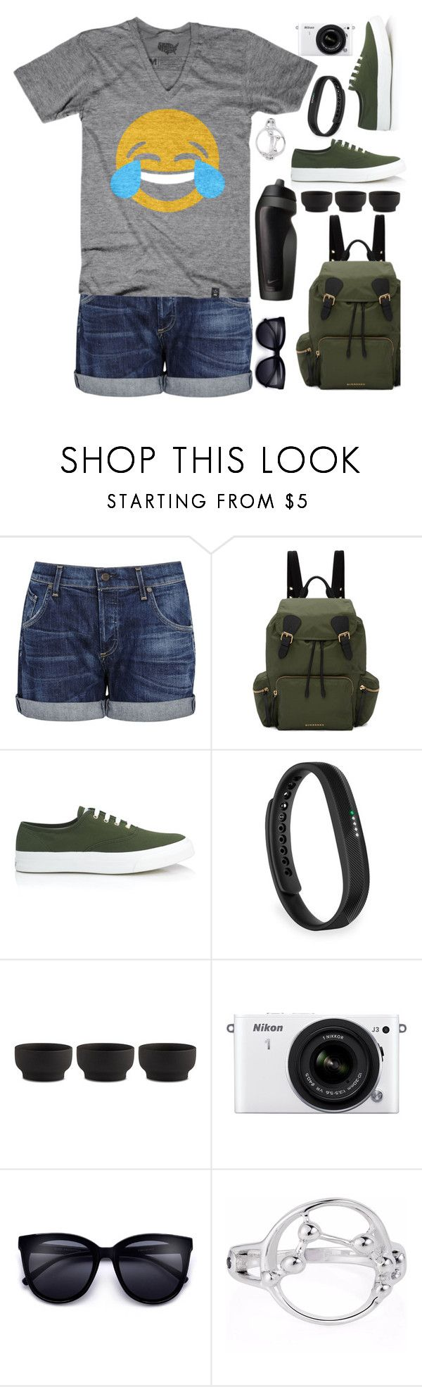 """Happy world Laughter day! Hike, laugh, stay FIT."" by arohii ❤ liked on Polyvore featuring Citizens of Humanity, Burberry, Maison Kitsuné, Fitbit, NIKE, Stelton, Nikon, fitness, sporty and emojifashion"