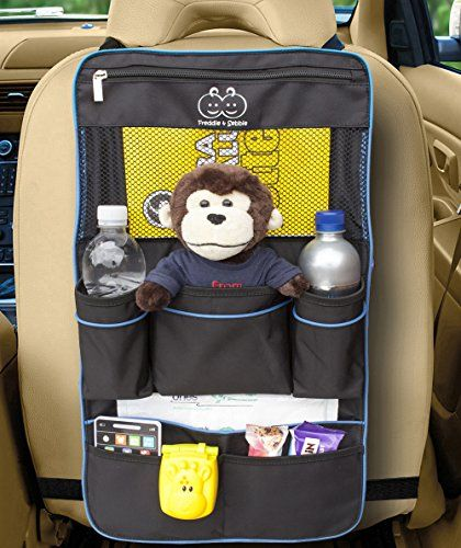 Backseat Organizer by Freddie and Sebbie - Luxury Car Storage Organizer - Perfect For Your Kids Accessories, Ipad, Tablets, Toys, Sippy Cups, Water Bottle, Etc - Designed To Fit Most Vehicles With The Aid Of Adjustable Straps Top And Bottom Which Keeps The Car Storage Backseat Organizer Securely In Position - Makes A Great Car Seat Protector, Back Seat Protector Or Kick Mat - Made in Black With Blue Piping - Protect Your Investment - Comes With A Lifetime Guarantee From A Company You Can ...