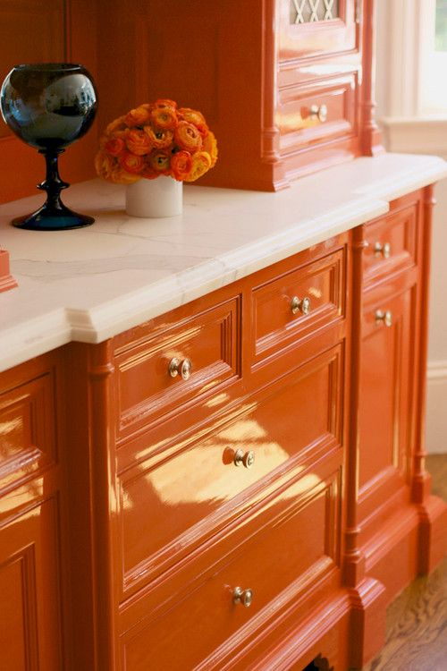 Maddie's valet vanity idea.... orange lacquer cabinets, Go bold! Decorate with orange to infuse life into any space Remodelaholic.com #orange #color #design