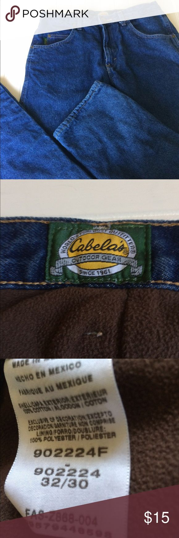 Cabelas flannel lined jeans. Flannel lined jeans from Cabela's. Get ready for fall. Size 32/30. cabela's Jeans Straight