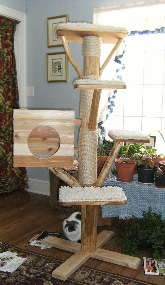 Rustic Log cat tree house by DougsRustics on Etsy, $325.00