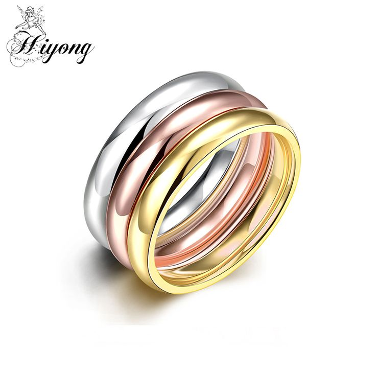 Latest Design Wedding & Engagement 3 in 1 Stacking Ring Set GP Size 6 7 8 9 Row Couple Rings Gift Classic Fashion Women Jewelry