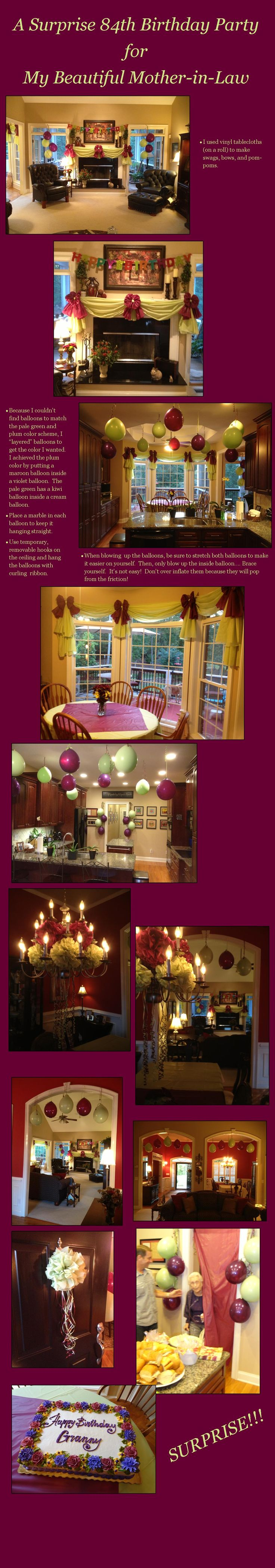 Decorating ideas for a Surprise Birthday party for an adult.  Swags, Bows and Pom-poms made from vinyl tablecloths.  Custom color balloons.  Fun colors for a fall party!