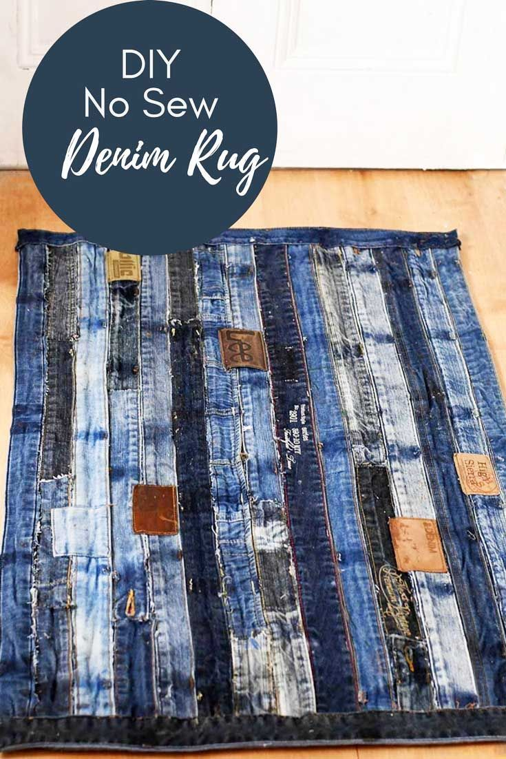 808c4d741d4dcd Unique denim rug made from repurposed jeans waistband. Full tutorial with  no sewing involved. #denimrug #rug #upcycleddenim #repurposeddenim #diyrug  # ...