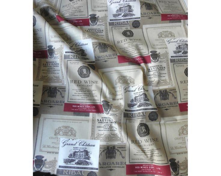 Borcímke mintás pamut vászon anyag, drapp-bordó