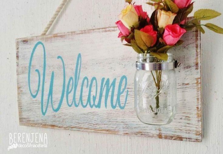 Letrero para colgar en la entrada de tu hogar. Letrero de Madera pintado a mano. Facebook: Berenjena deco & macetería