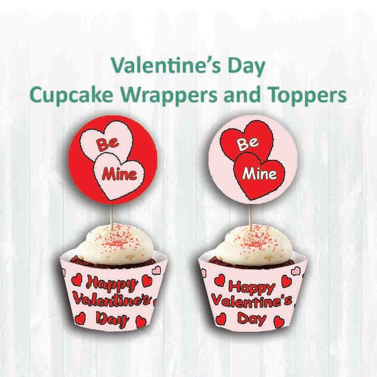 Valentine's Day cupcake wrappers and Toppers, Printable download by MoonGloCreations on Etsy