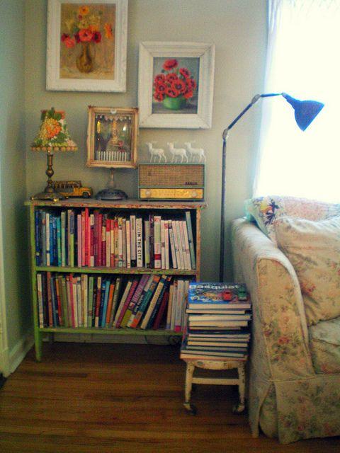 Bookcase full of inspiration and PERFECT sofa by confetti garden- nicole hill, via Flickr