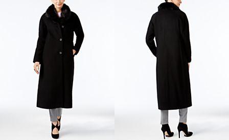 Jones New York Faux-Fur-Collar Maxi Coat