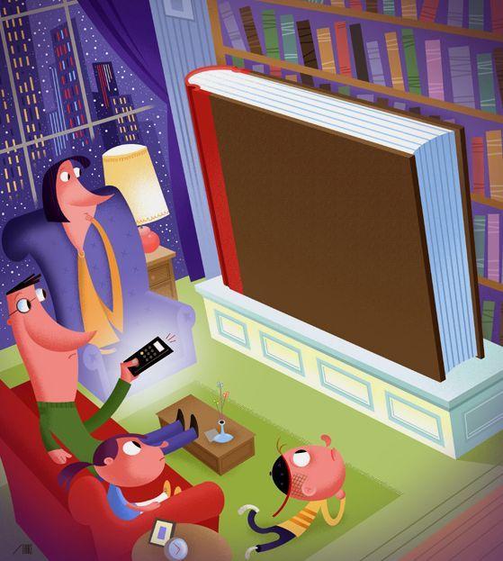 Lectura en familia, un poco cada día (ilustración de Bob Staake)