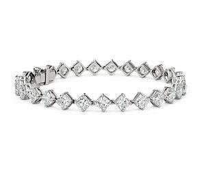 Cushion-Cut Kite Set Diamond Eternity Bracelet in Platinum (14.24 ct. tw.) #bluenile