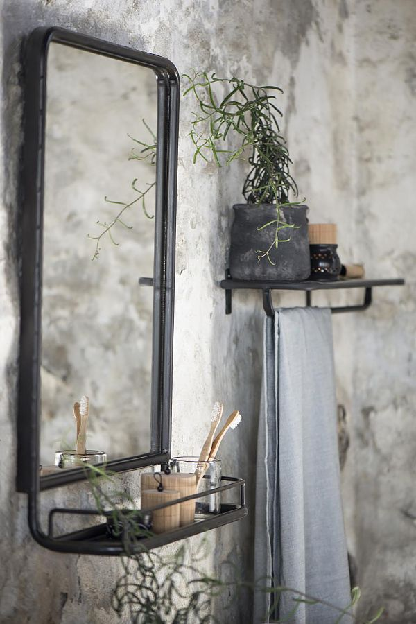 Herning Black Mirror With Shelf Vaunt Design Industrial Wall Mirrors Mirror Wall Living Room Mirror Wall