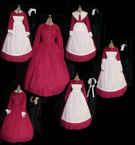 6 COSTUMES W/ ONE LADIES VICTORIAN CIVIL WAR REENACTMENT DRESS  & 11PC. SM-X-LG