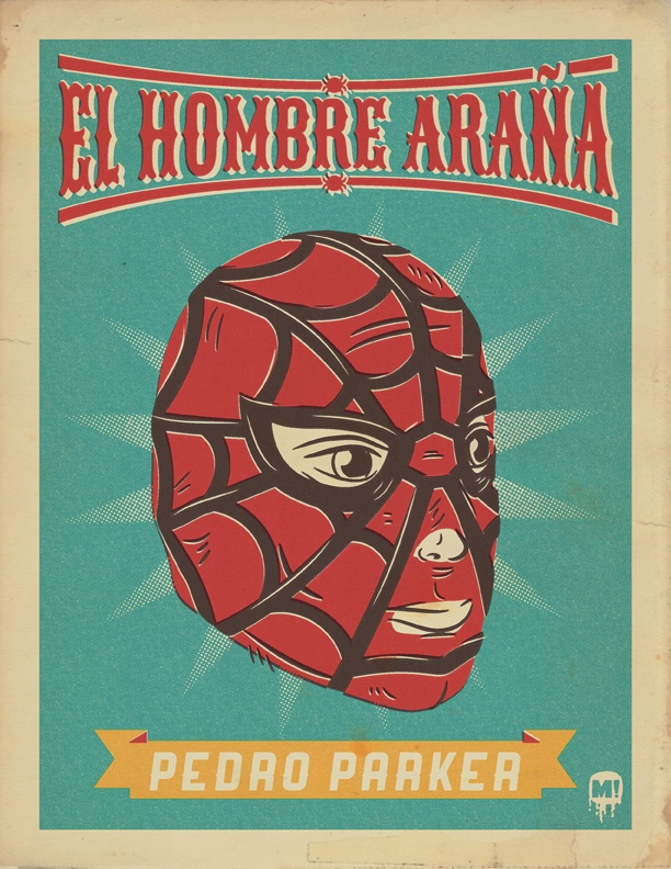 Spiderman, Marvel, superhero, luchador, Lucha Libre, illustration, Peter Parker