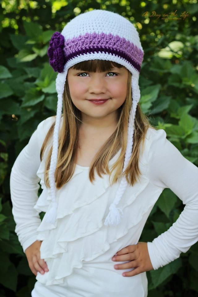 Crochet Flower Earflap Hat.Crochet Flower