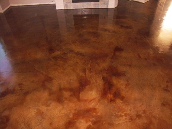 stained & finished concrete floor basement floor idea
