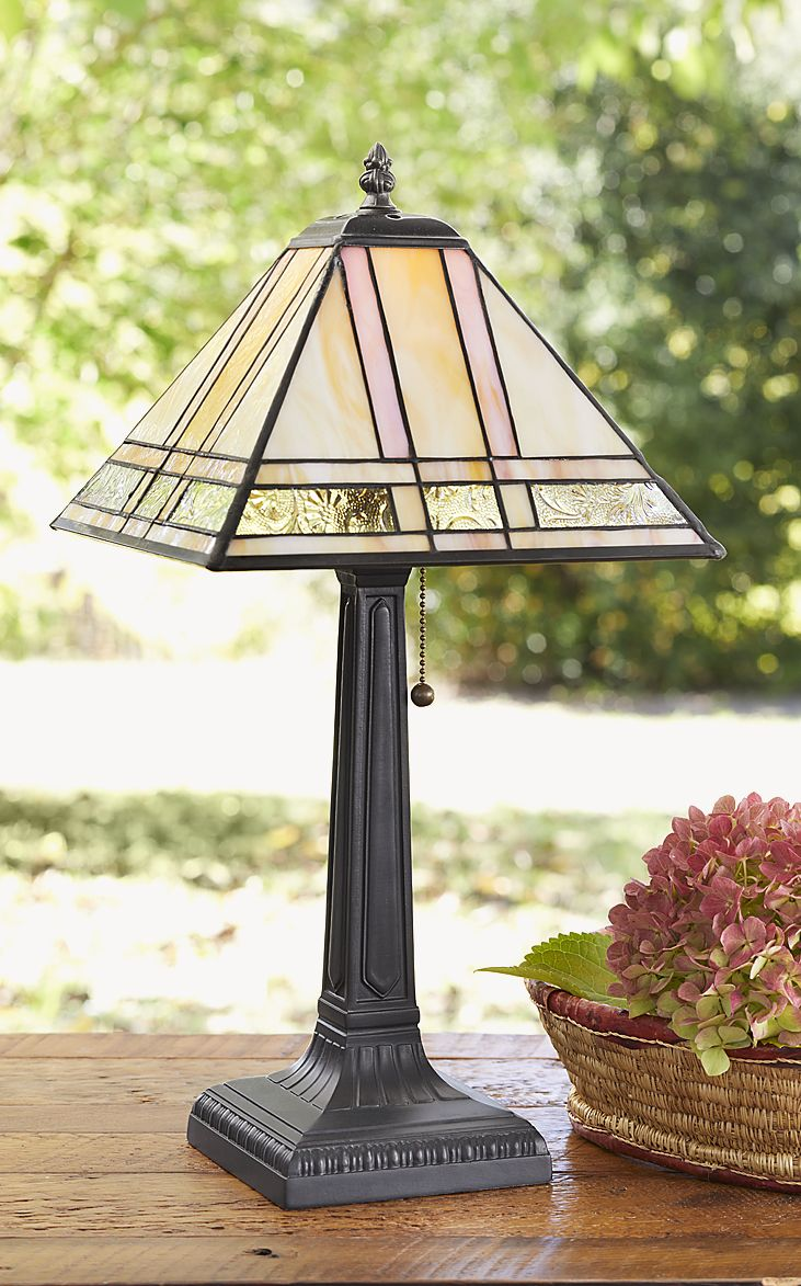 Rosemunde Table Lamp   Handcrafted Table Lamp With Textured Stained Glass.