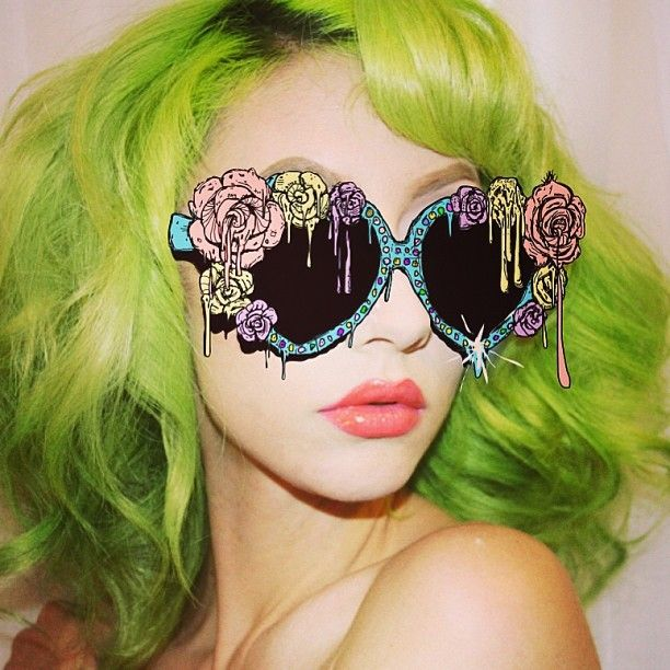 Chartreuse lime coloured hair - crazy sunglasses