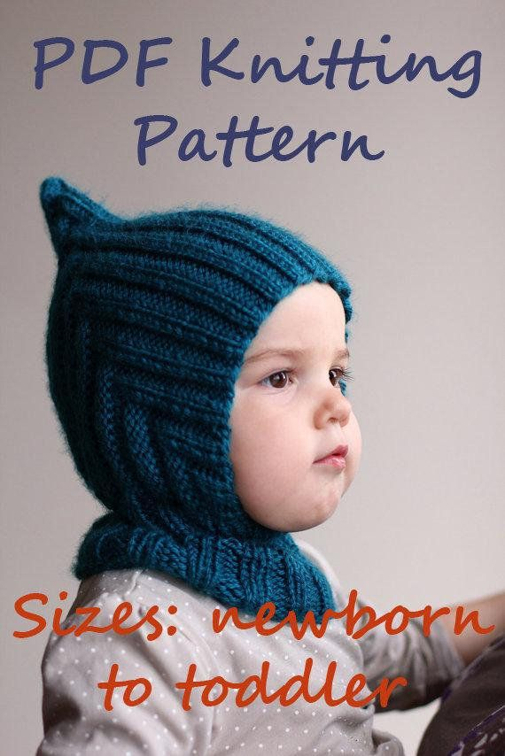 e556ff0de07 DOWNLOADABLE PDF PATTERN balaclava pixie elf hat hooded scarf knitting  pattern 0-6 6-12 12-24 2-4 ye