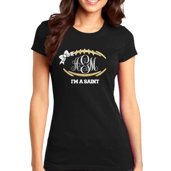 FREE SHIP Monogram football tee, trendy shirts, womens monogram shirts,saints football shirts, monogram shirts for women, saint shirts,