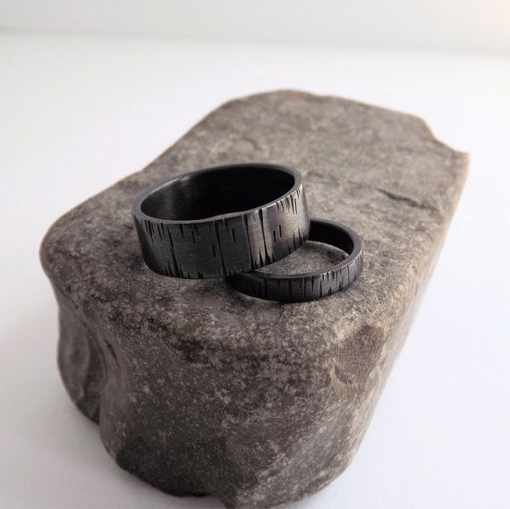 Couples Promise Rings Set  Tree Bark Bands by KellyLimbergJewelry