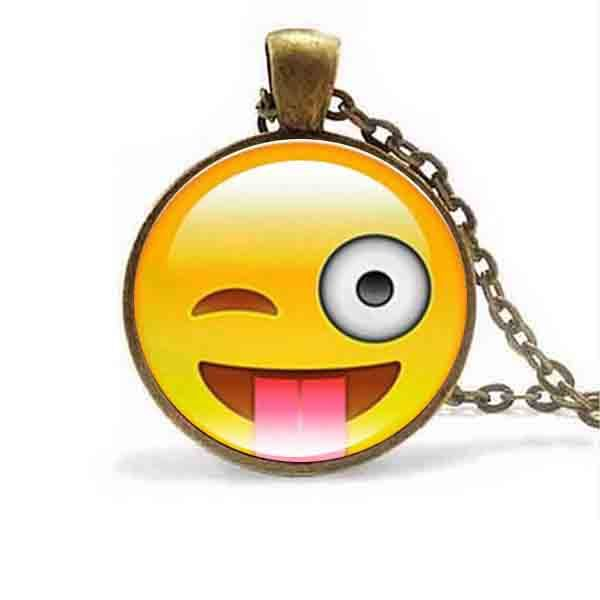 18 Styles Emoji Smiley Face Pendant Necklace Glass Cabochon Silver Chain Necklaces for Women Jewelry Birthday Party Funny Gift